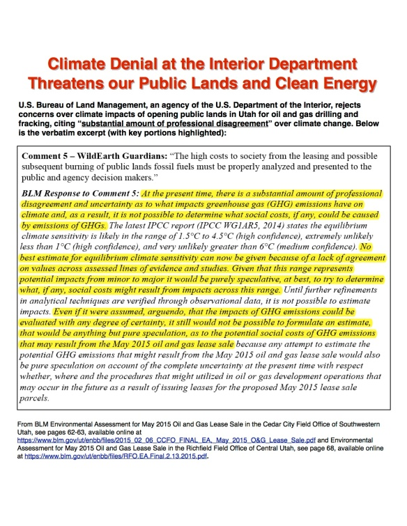 climate denial at Interior